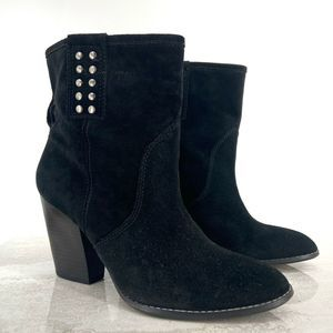 Libby Edelman Black Suede Pull-On Ankle Boots